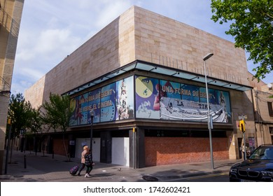 BARCELONA, CATALONIA, SPAIN - APRIL 29, 2016: Old cinema in the Sant Andreu neighborhood. It was from the Lauren movie company. Currently the space is occupied.