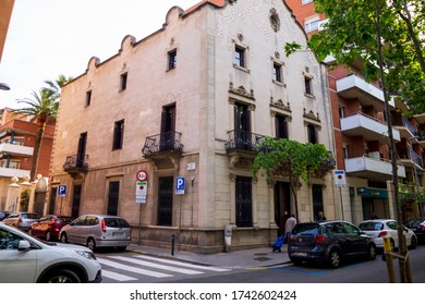 BARCELONA, CATALONIA, SPAIN - APRIL 29, 2016: Old manor house in the Sant Andreu neighborhood in Barcelona. In the street of Fabra i Puig.