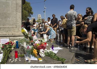 BARCELONA, CATALONIA, SPAIN - AUGUST, 18, 2017. TERRORIST ATTACK. People at the Ramblas of Catalonia one day after the attack.