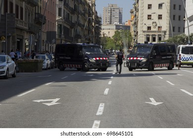 BARCELONA, CATALONIA, SPAIN - AUGUST, 18, 2017. TERRORIST ATTACK. Police vehicles at city center, Pelayo street empty.