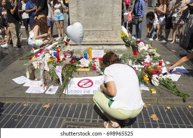 BARCELONA, CATALONIA, SPAIN - AUGUST, 18, 2017. Terrorist Attack. People reunited on Barcelona's Rambla one day after the attack, giving tribute to the at least 14 fatal victims.