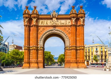 Barcelona, Catalonia, Spain - August 18, 2011: View of the Arc De Triomf in Barcelona. It was built by architect Josep Vilaseca i Casanovas, as the main access gate for the 1888 Barcelona World Fair.