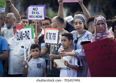 BARCELONA, CATALONIA, SPAIN - AUGUST, 21, 2017. Muslims protest against terror near Barcelona memorial on 21 August 2017.