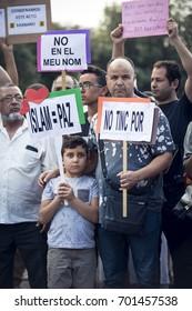 BARCELONA, CATALONIA, SPAIN - AUGUST, 21, 2017. Muslims protest against terror near Barcelona memorial on 21 August 2017.