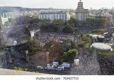 "Barcelona, Catalonia, Spain - August, 26, 2017. Crowd manifesting at plaza catalunya ""I'm not afraid"" . Manifestation for terrorist attacks.  General views of Catalonia square."