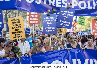 BARCELONA, CATALONIA, SPAIN - AUGUST, 26, 2017. People crowd a street during a protest under the motto 'No tinc por' (I am not scared) to protest against terrorist attacks in Barcelona, Spain.