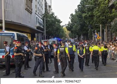 "Barcelona, Catalonia, Spain - August, 26,2017. Crowd manifesting at plaza catalunya ""I'm not afraid"" . Manifestation for terrorist attacks. Police device at city center."