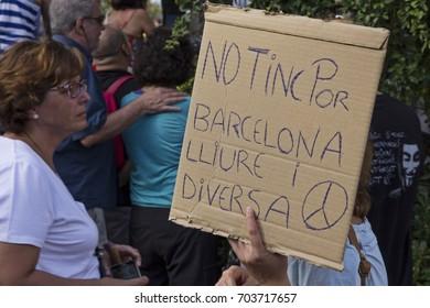 "Barcelona, Catalonia, Spain - August, 26,2017. Crowd manifesting at plaza catalunya ""I'm not afraid"" . Manifestation for terrorist attacks. ""I'm not afraid"""