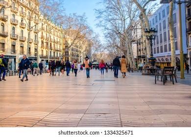 Barcelona, Catalonia / Spain - February 22, 2018: La Rambla. A popular street in centre of Barcelona