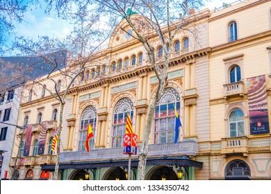 Barcelona, Catalonia / Spain - February 22, 2018: The Gran Teatre del Liceu. An opera house on La Rambla in Barcelona