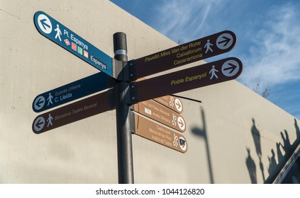 Barcelona, Catalonia, Spain - January 14th, 2018: Directions to Placa Espanya, Casaramona, Music Theatre of Barcelona and other sights for tourists