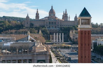 Barcelona, Catalonia, Spain - January 14th, 2018: Museu Nacional d'Art de Catalunya and one of the Venetian Towers in Barcelona on a sunny winters' day
