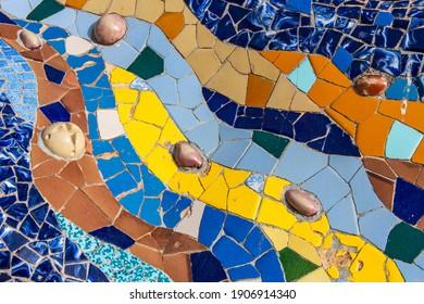 Barcelona, Catalonia, Spain - January 2, 2021: Detail of Gaudi's multicolored mosaic salamander, Park Guell