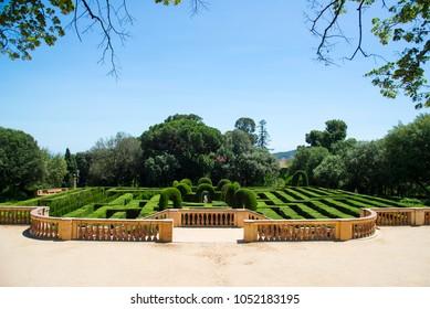 BARCELONA, CATALONIA / SPAIN - JUNE 10, 2017: The Parc del Laberint d'Horta in Barcelona