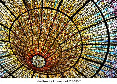 "BARCELONA, CATALONIA, SPAIN- June 12, 2016. Stained glass ""skylight"" in the Palau de la Musica Catalana (""Palace of the Catalan Music""), Barcelona, Catalonia, Spain"