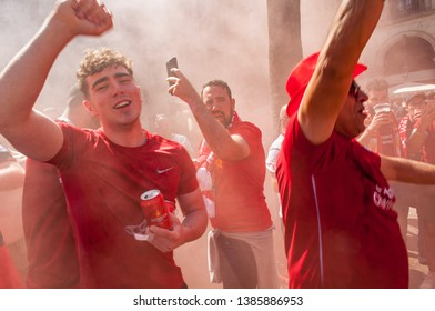 Barcelona, Catalonia, Spain - May 1st 2019- Liverpool FC Football Fans Celebrate Champions League Game Against Barcelona in Barcelona's Placa Real