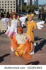 Barcelona, Catalonia, Spain, November 2, 2018: -young cosplayers dress up as japanese anime and manga characters in the street. Salo del manga