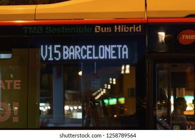 Barcelona, Catalonia / Spain - November 25 2018: Bus image nearthe Plaza de Catalonia at night time
