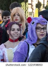 Barcelona, Catalonia, Spain, November 3, 2018, portrai serie: people dress up of manga. Salo del manga