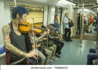 Barcelona, Catalonia / Spain - October 14, 2017. The Metro is a metropolitan rail network that serves the city. It consists of 12 lines and a length of 146 kilometers with 180 stations