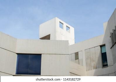 Barcelona, Catalonia, Spain - October 15, 2013: The Joan Miro Foundation. Also known as Fundacio Joan Miro, Centre d'Estudis d'Art Contemporani located on the Montjuic hill.