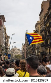 BARCELONA, CATALONIA, SPAIN; October 2, 2017: Nationalist People are  protesting agaist spanish govermment in Barcelona on October 2, 2017