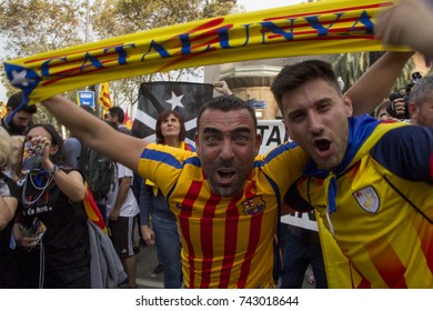 Barcelona, Catalonia, Spain - October, 27, 2017. Pujades street. Crowd in street celebrating Independence. Men celebrating independence in the moment of the declaration of the Catalonia Republic.