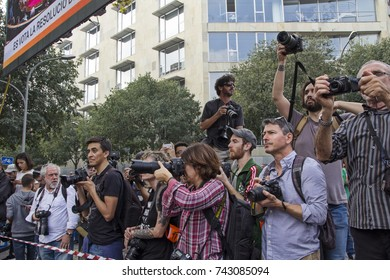 Barcelona, Catalonia, Spain - October, 27, 2017. Pujades street. Journalists waiting for  the moment of the proclamation of the Catalonia Republic.
