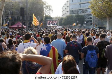 Barcelona, Catalonia, Spain, October 27, 2017: people celebrates vote to declare independence of Catalunya near Parc de la Ciutadella.