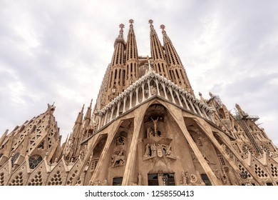 Barcelona, Catalonia, Spain - October 7, 2018: The Expiatory Temple of the Sagrada Familia is one of the main attractions of Barcelona, built by the project of Antonio Gaudi. Facade of the Passion.