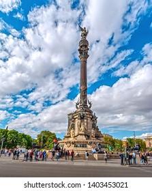 Barcelona, Catalonia, Spain - October 7, 2018: Columbus Monument dedicated to Christopher Columbus at Las Ramblas.