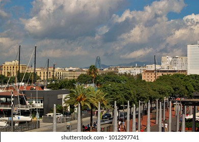 Barcelona / Catalonia / Spain - October.12.2014 - View of old city from the port