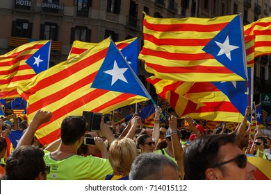 Barcelona, Catalonia, Spain, September 11, 2017:  people on rally support for independence of Catalunya during the national day