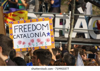 Barcelona, Catalonia, Spain, September 21, 2017: people on rally support for independence of Catalunya during the protest in front the Tribunal Superior de Justicia de Catalunya.
