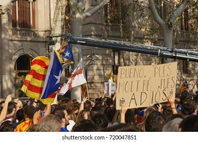 Barcelona, Catalonia, Spain, September 21, 2017: Riots of catalan people protesting for  spanish government decision about referendum of independence of catalunya