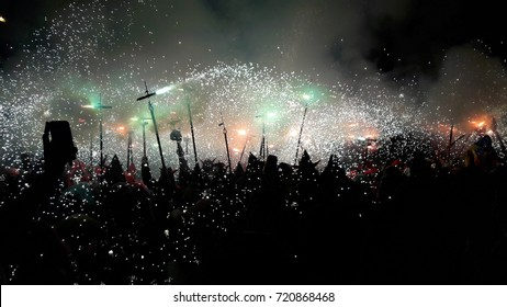 Barcelona, Catalonia, Spain - September, 23, 2017. Correfoc, typical catalan celebration in which devils armed with fireworks dance through the streets. La Merce, the biggest festivities of Barcelona.