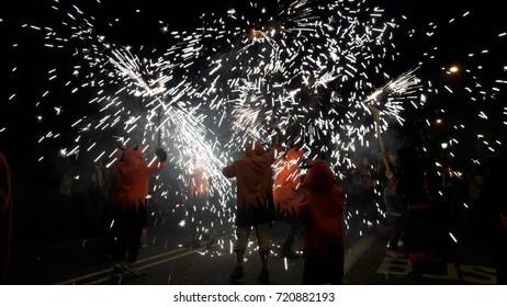 Barcelona, Catalonia, Spain - September, 23, 2017.  Fiestas de la Merce in Barcelona.  Correfoc with diables in Via Laiteana.