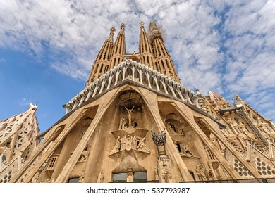 Barcelona, Catalonia, Spain - September 8, 2016: Sagrada Familia. South facade of the Passion of Christ. Barcelona. Catalonia. Spain.