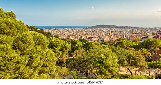 Barcelona, Catalonia, Spain - September 8, 2016: View of Barcelona from Park Guell.