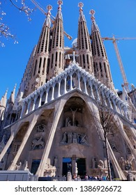 Barcelona, Catalonia / Spain-April, 07, 2019: Sagrada Familia - Gaudi Cathedral in Barcelona. Visiting tourists world attractions