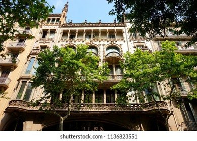 Barcelona, Catalonia/Spain - 07 02 2018. One of the facades of beautiful buildings in the Eixample quarter in Barcelona
