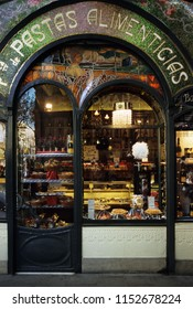 """""""Barcelona, Catalonia/Spain, Europe - 02/08/2007: Entrance and store window of """"Pastas alimenticias a charming pastry shops  in liberty style along La Rambla, the most popular street of the city"""""""