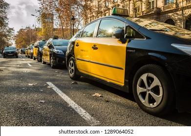Barcelona, Catalonia/Spain - january 19 2019: taxi driver's strike in Barcelona