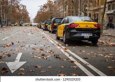 Barcelona, Catalonia/Spain - january 20 2019: Strike of Barcelona's taxi still going