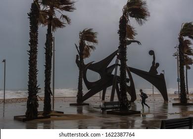 Barcelona, Catalonia/Spain - january 21 2020: Storm coming over the coastline of Barceloneta