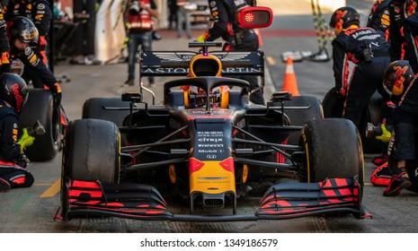 Barcelona, Catalunya / Spain - 02 27 2019:  Max Verstappen of Red Bull Racing during Formula 1 winter testing at the Circuit de Barcelona-Catalunya in preperation for the 2019 F1 season.