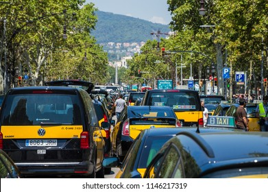 Barcelona, Catalunya/Spain - July 31 2918: taxi strike in Barcelona continues bloking the streets