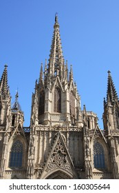 Barcelona cathedral facade details, Spain. The cathedral is in the heart of Barri Gotic (Gothic Quarter) of Barcelona