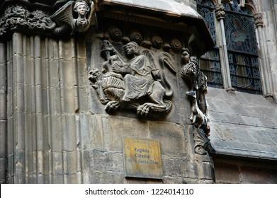 Barcelona Cathedral. Cathedral of the Holy Cross and Saint Eulalia. (Catalan: Catedral de la Santa Creu i Santa Eulàlia, Spanish: Catedral de la Santa Cruz y Santa Eulalia). Catalonia, Span