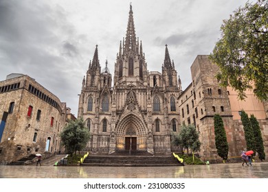 Barcelona Cathedral, located in Gothic Quarter in rainy morning